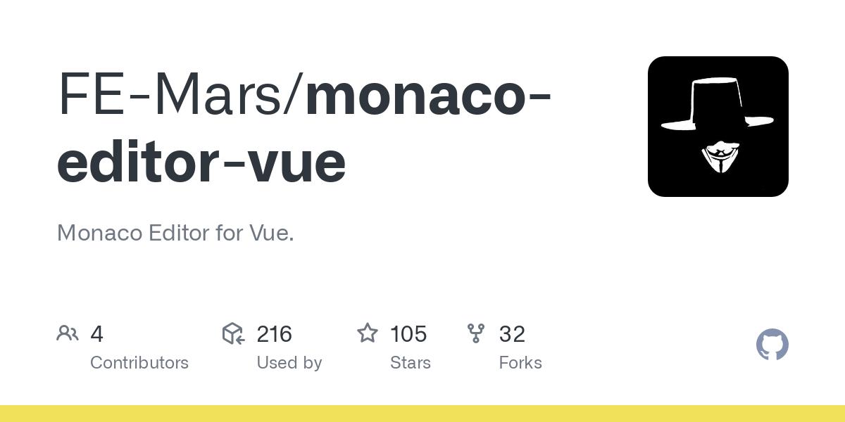 GitHub - FE-Mars/monaco-editor-vue: Monaco Editor for Vue.-image