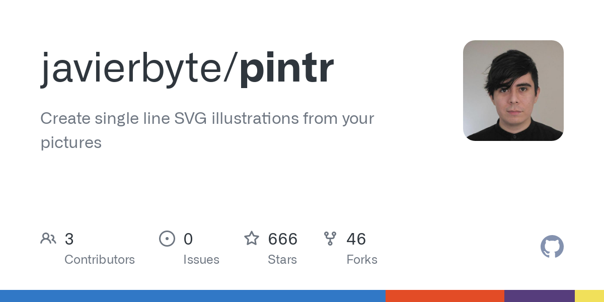 GitHub - javierbyte/pintr: Create single line SVG illustrations from your pictures