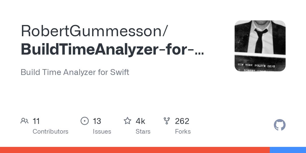 GitHub - RobertGummesson/BuildTimeAnalyzer-for-Xcode: Build Time Analyzer for Swift