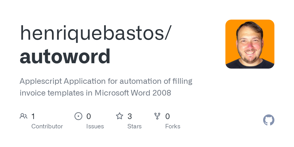Github Henriquebastos Autoword Applescript Application For Automation Of Filling Invoice Templates In Microsoft Word 2008
