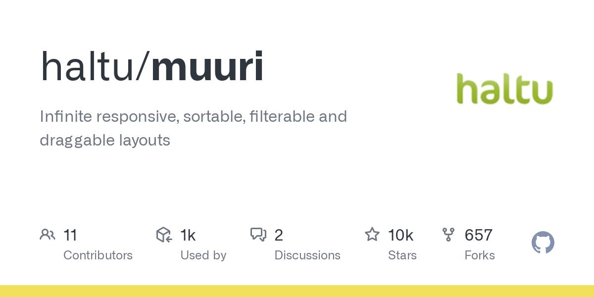 GitHub - haltu/muuri: Infinite responsive, sortable, filterable and draggable layouts