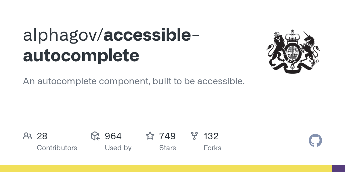 alphagov/accessible-autocomplete: An autocomplete component, built to be accessible.