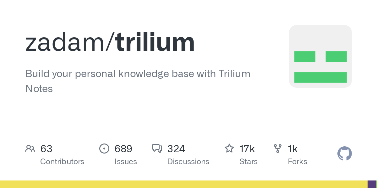 GitHub - zadam/trilium: Build your personal knowledge base with Trilium Notes