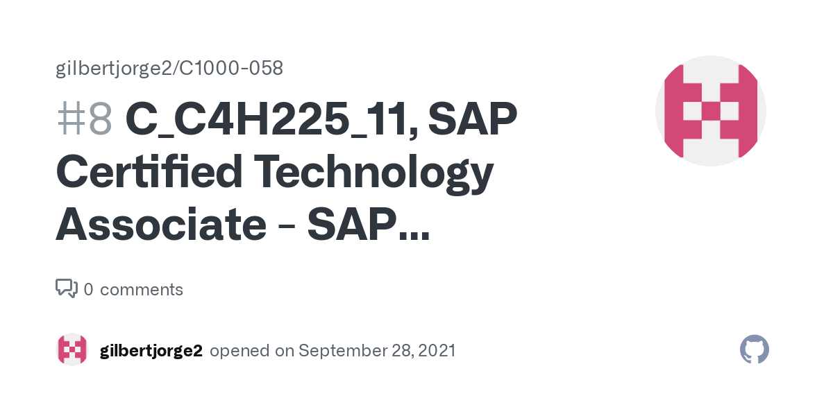 C_C4H225_11, SAP Certified Technology Associate - SAP Emarsys Customer Engagement Implementation · Issue #8 · gilbertjorge2/C1000-058