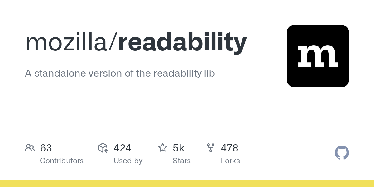 GitHub - mozilla/readability: A standalone version of the readability lib