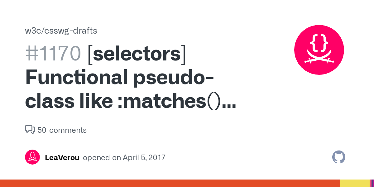 [selectors] Functional pseudo-class like :matches() with 0 specificity · Issue #1170 · w3c/csswg-drafts