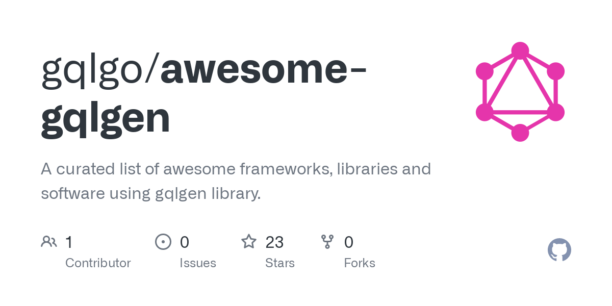 GitHub - gqlgo/awesome-gqlgen: A curated list of awesome frameworks, libraries and software using gqlgen library.