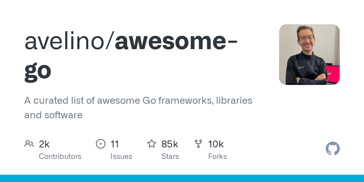 github repository cover: avelino/awesome-go