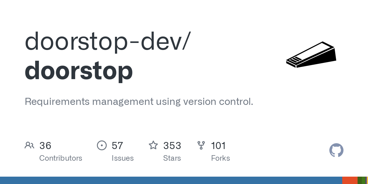 Doorstop is a requirements management tool that facilitates the storage of textual requirements alongside source code in version control. When a proje