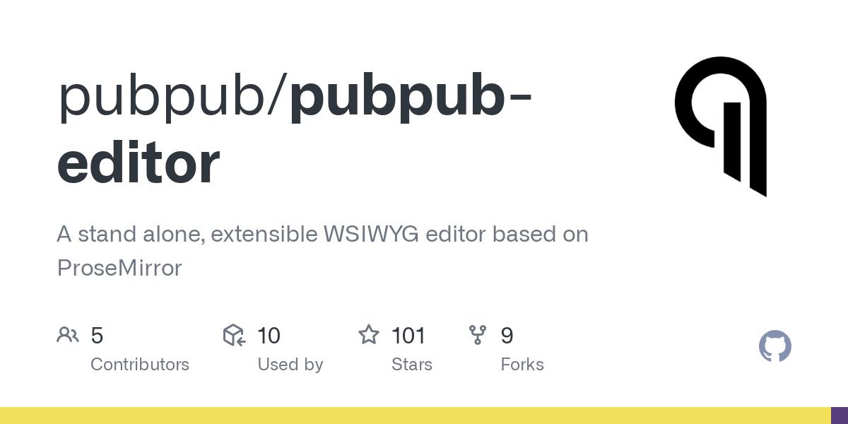 GitHub - pubpub/pubpub-editor: A stand alone, extensible WSIWYG editor based on ProseMirror