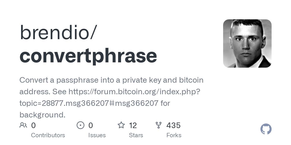GitHub - brendio/convertphrase: Convert a passphrase into ...