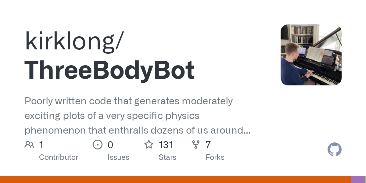 A cool stable solution to the three-body problem created by the code, based off of Chenciner and Montgomery (2000). See all the animations on the bot'
