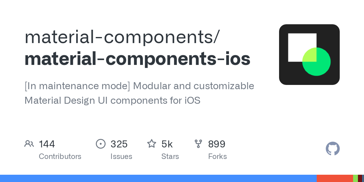 On July 15, 2021, the Material Components for iOS library and its related Material Foundation and Material Motion dependencies entered maintenance mod