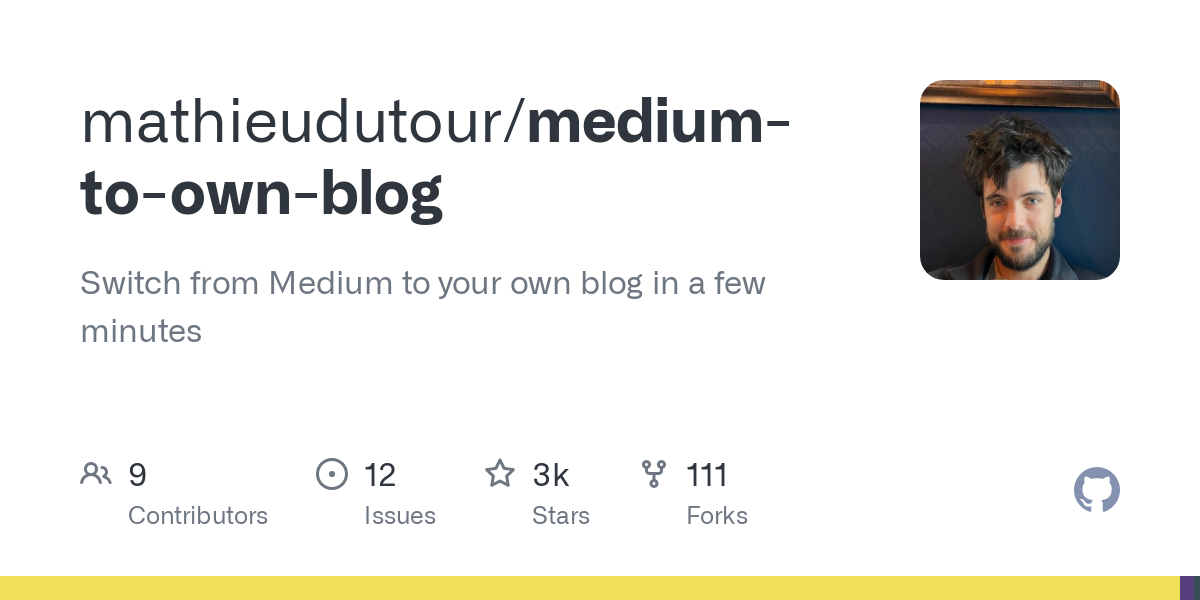 mathieudutour/medium-to-own-blog: Switch from Medium to your own blog in a few minutes