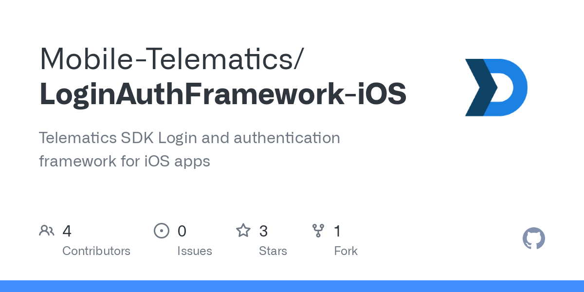 GitHub - Mobile-Telematics/LoginAuthFramework-iOS: Telematics SDK Login and authentication framework for iOS apps