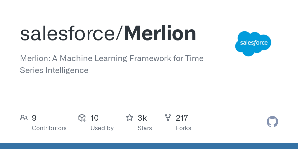 Merlion is a Python library for time series intelligence. It provides an end-to-end machine learning framework that includes loading and transforming