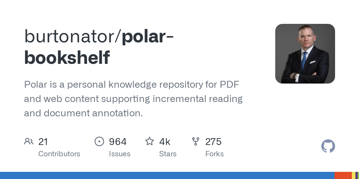 GitHub - burtonator/polar-bookshelf: Polar is a personal knowledge repository for PDF and web content supporting incremental reading and document annotation.