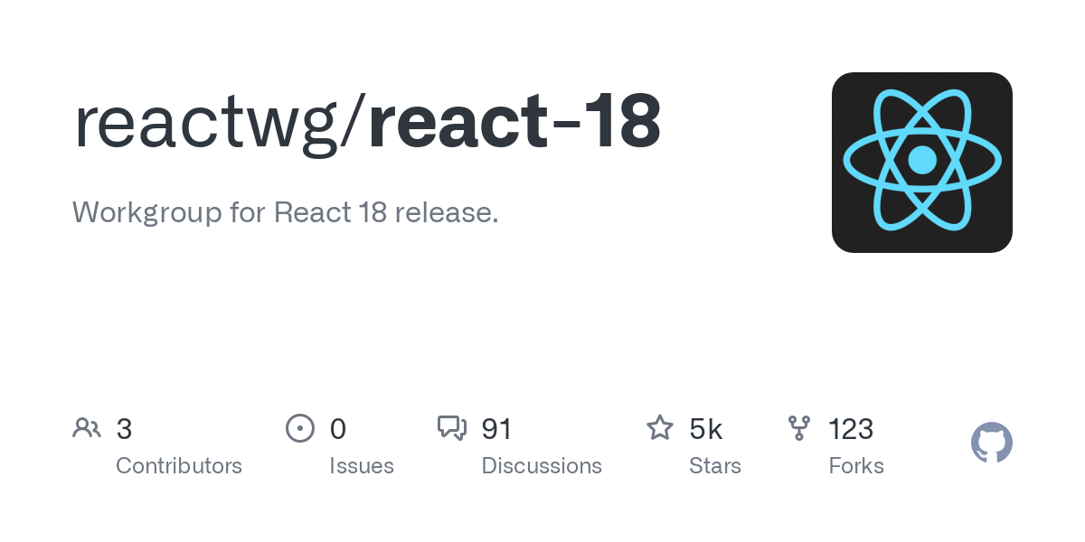 This is the working group for React 18 release. It was formed to provide support to the community through the release. The working group is focused ar