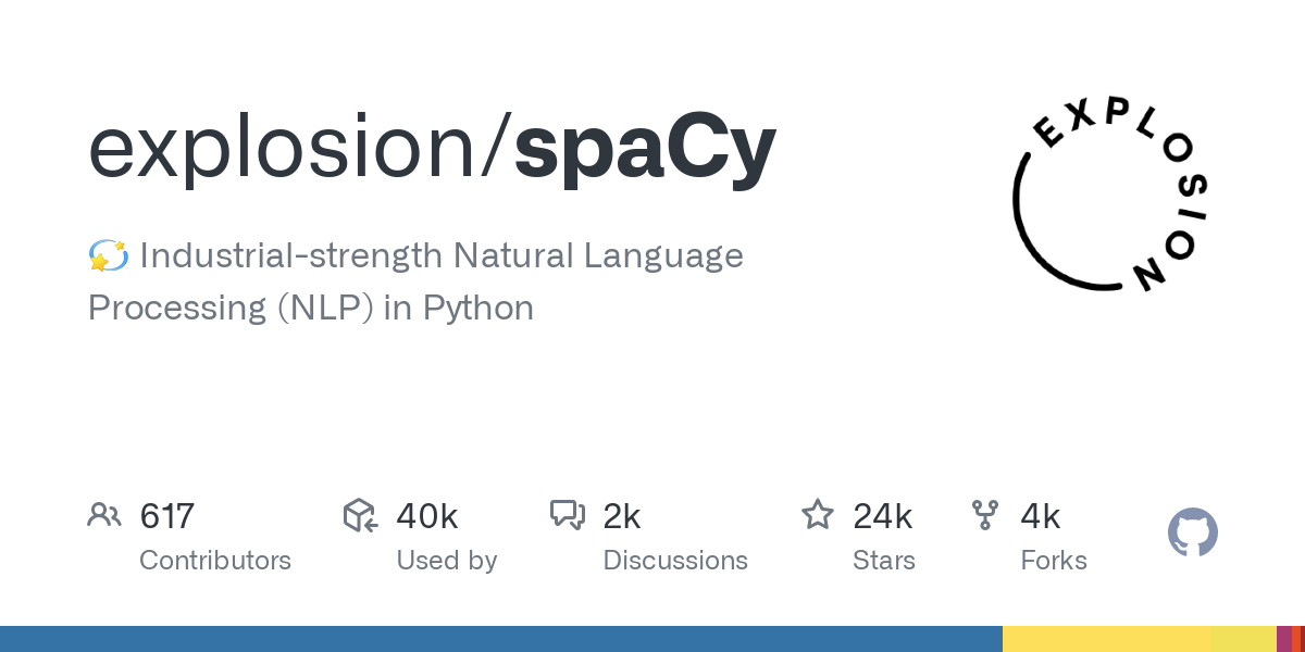 GitHub - explosion/spaCy: 💫 Industrial-strength Natural Language Processing (NLP) in Python