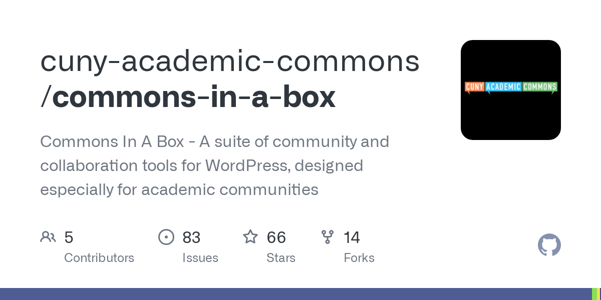 GitHub - cuny-academic-commons/commons-in-a-box: Commons In A Box - A suite of community and collaboration tools for WordPress, designed especially for academic communities