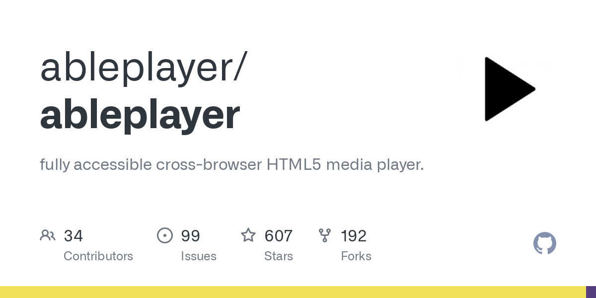 GitHub - ableplayer/ableplayer: fully accessible cross-browser HTML5 media player.