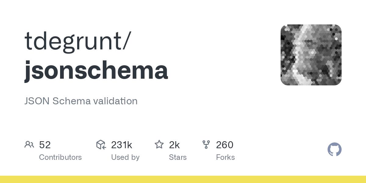 GitHub - tdegrunt/jsonschema: JSON Schema validation