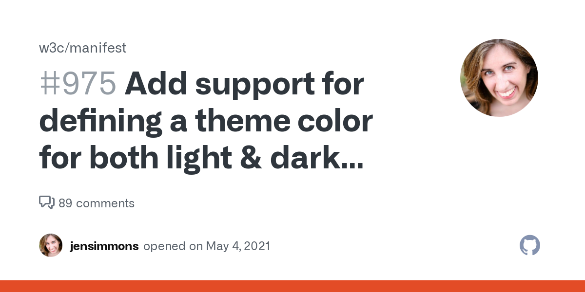 Add support for defining a theme color for both light & dark modes (prefers color scheme)