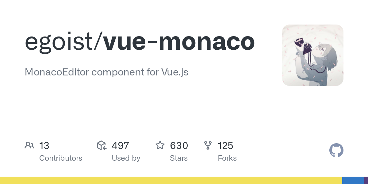 GitHub - egoist/vue-monaco: MonacoEditor component for Vue.js-image