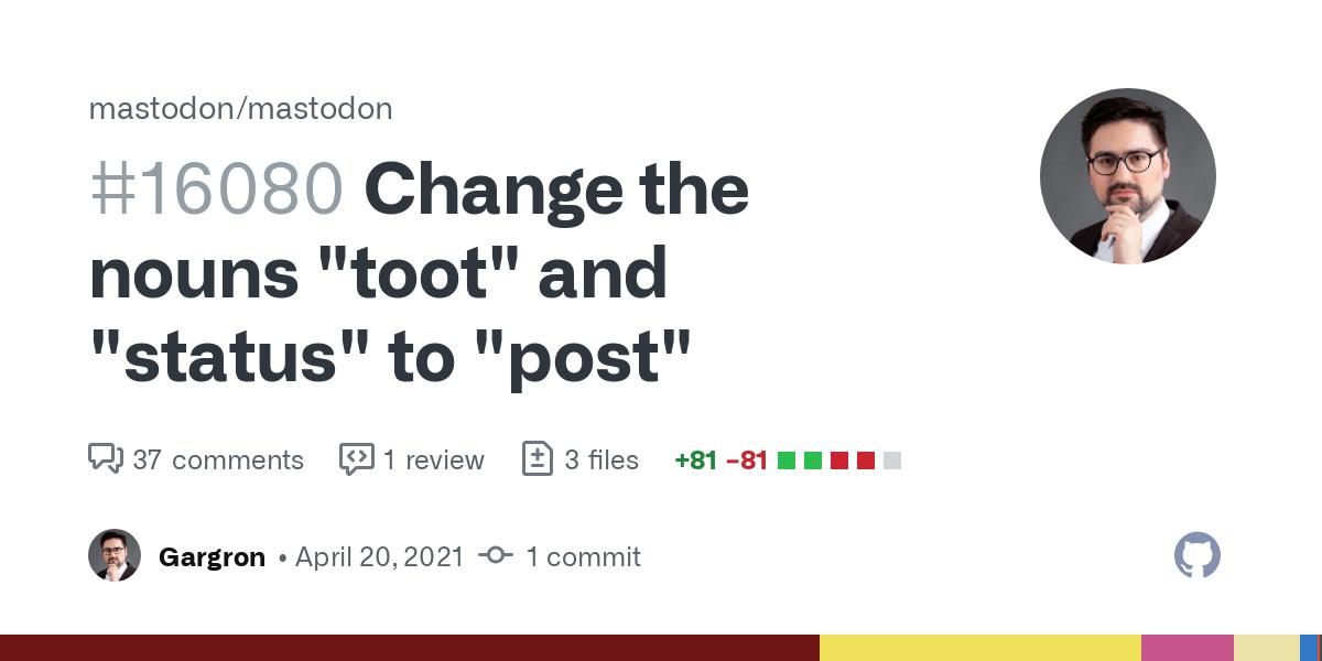 "Mastodon Renaming ""Toots"" to ""Posts"""