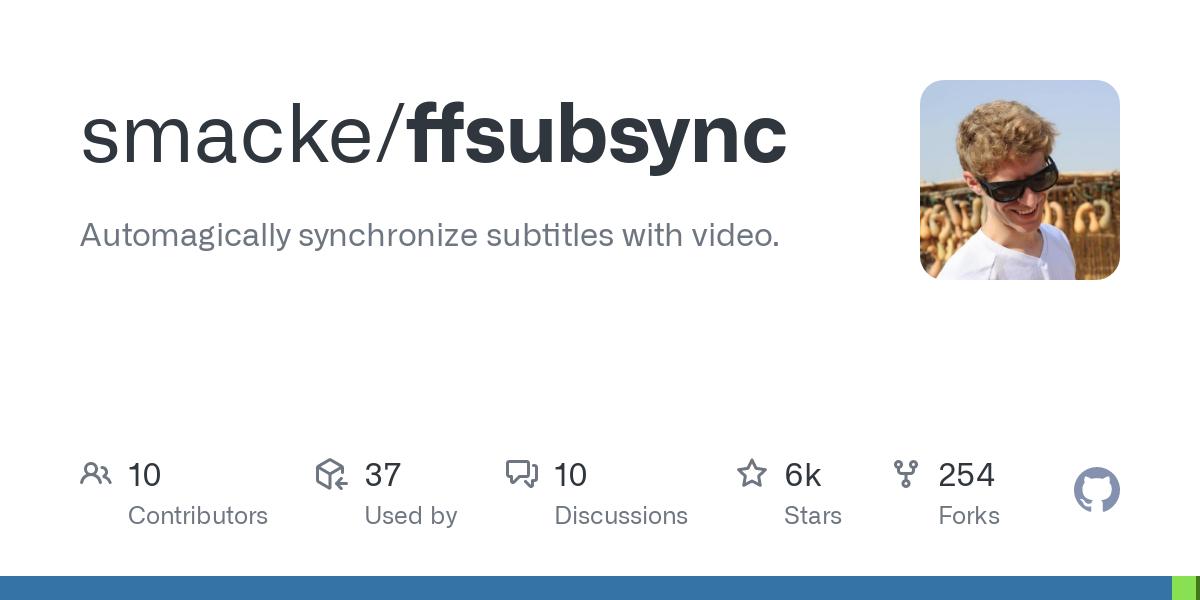 GitHub - smacke/ffsubsync: Automagically synchronize subtitles with video.