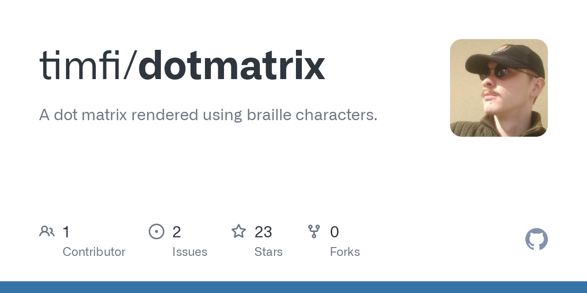 This library provides class called Matrix which represents a dot matrix that can be rendered to a string of Braille characters. In addition the class