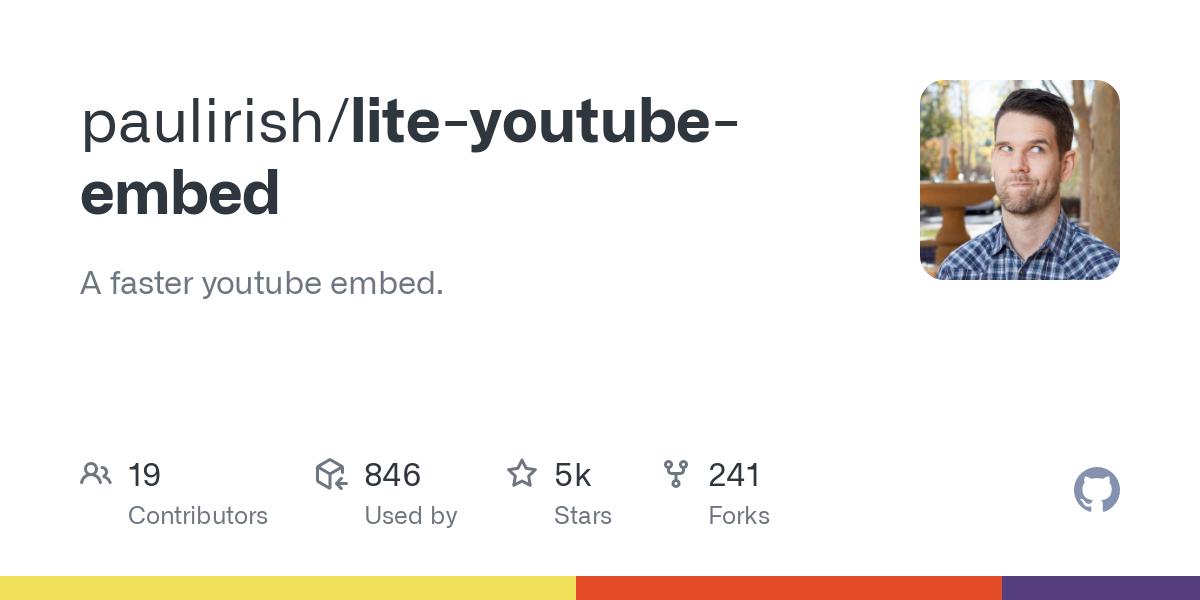 paulirish/lite-youtube-embed: A faster youtube embed.