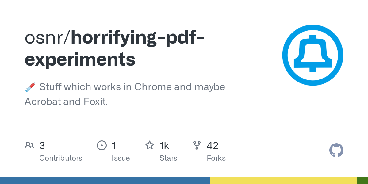 GitHub - osnr/horrifying-pdf-experiments: Stuff which works in Chrome and maybe Acrobat and Foxit.
