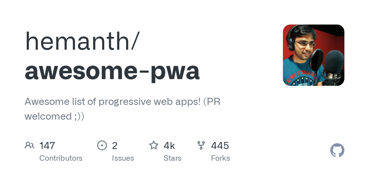 hemanth/awesome-pwa: Awesome list of progressive web apps! (PR welcomed ;))