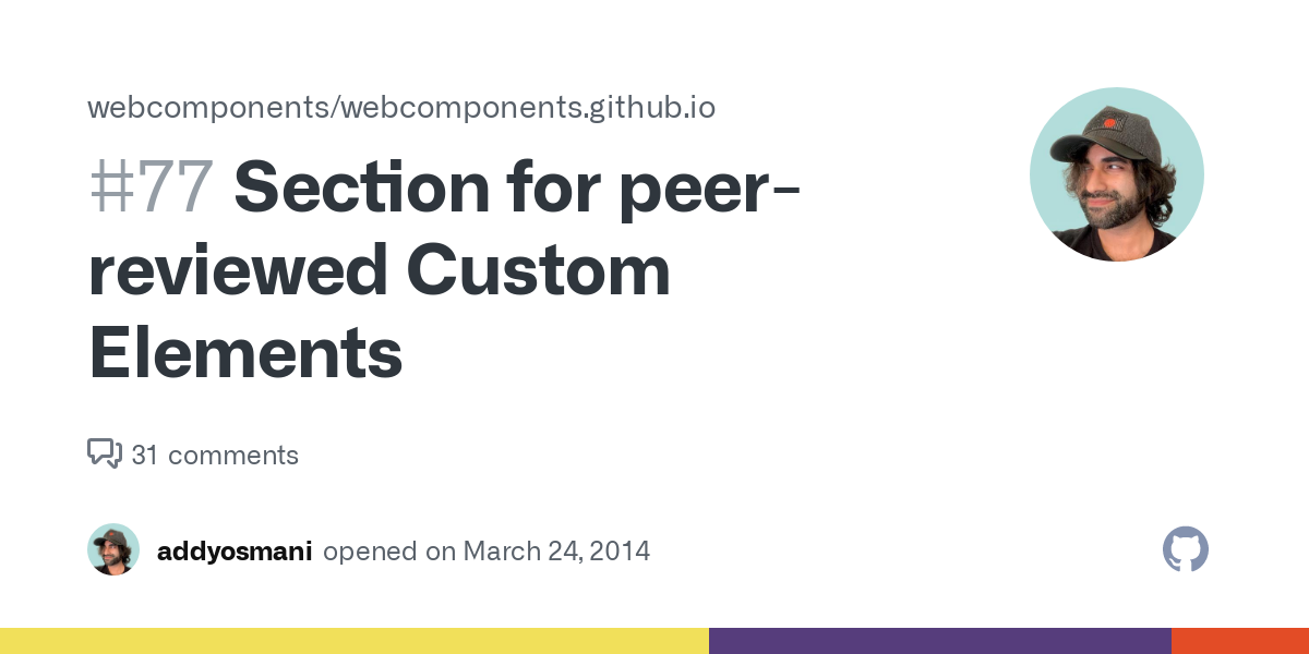 Section for peer-reviewed Custom Elements · Issue