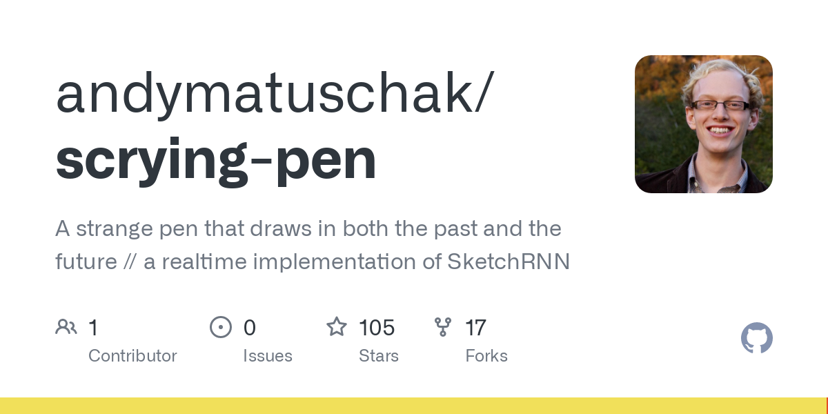 GitHub - andymatuschak/scrying-pen: A strange pen that draws in both the past and the future // a realtime implementation of SketchRNN