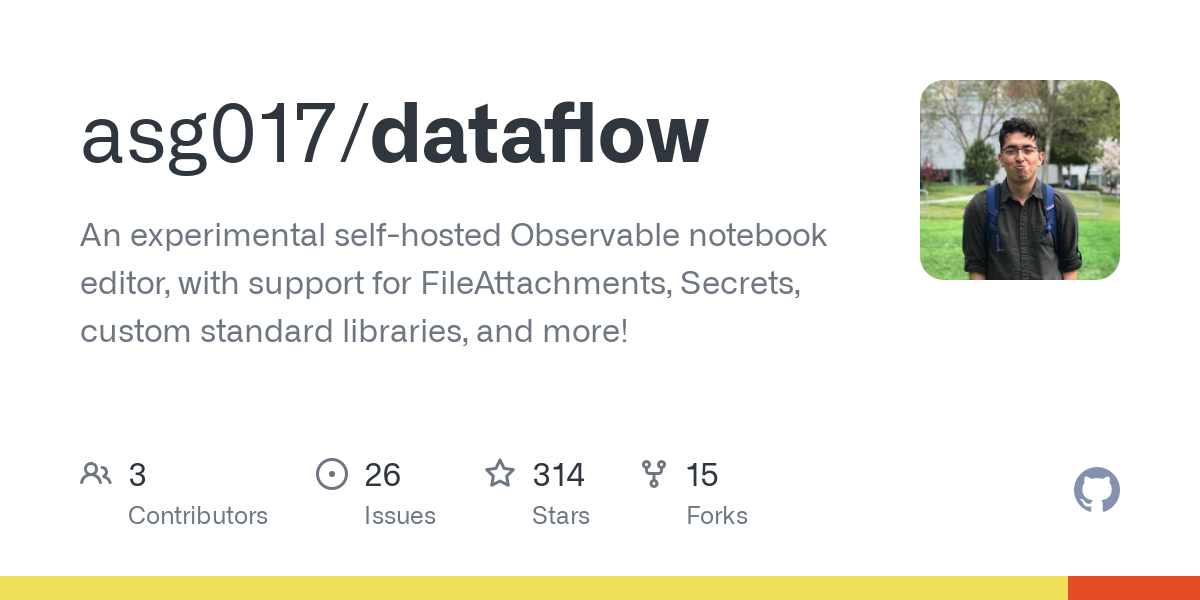 GitHub - asg017/dataflow: An experimental self-hosted Observable notebook editor, with support for FileAttachments, Secrets, custom standard libraries, and more!