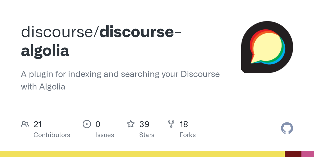 GitHub - discourse/discourse-algolia: A plugin for indexing and searching your Discourse with Algolia