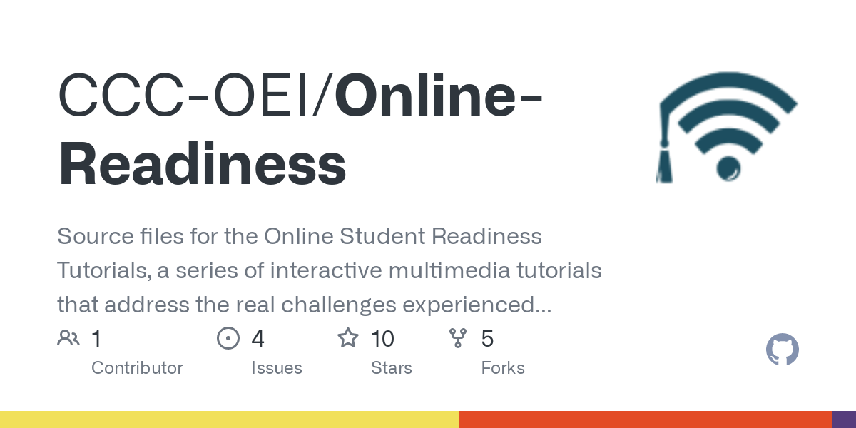 GitHub - CCC-OEI/Online-Readiness: Source files for the Online Student Readiness Tutorials, a series of interactive multimedia tutorials that address the real challenges experienced by online students, new and experienced, while pursuing success in online classes.