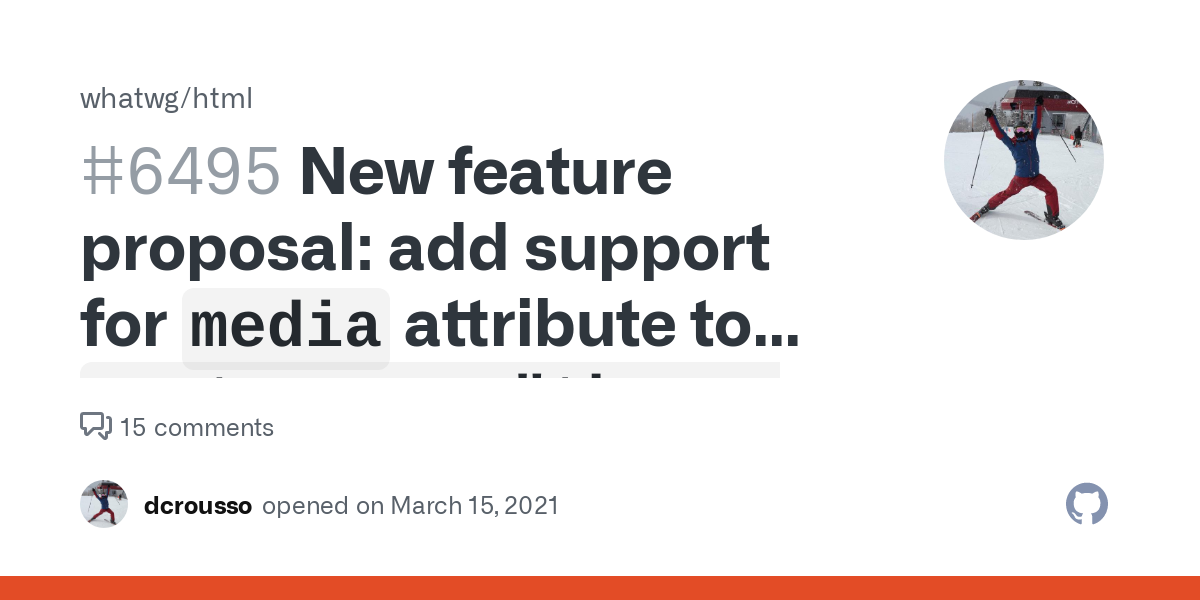 """New feature proposal: add support for `media` attribute to `meta name=""""theme-color""""` · Issue #6495 · whatwg/html"""