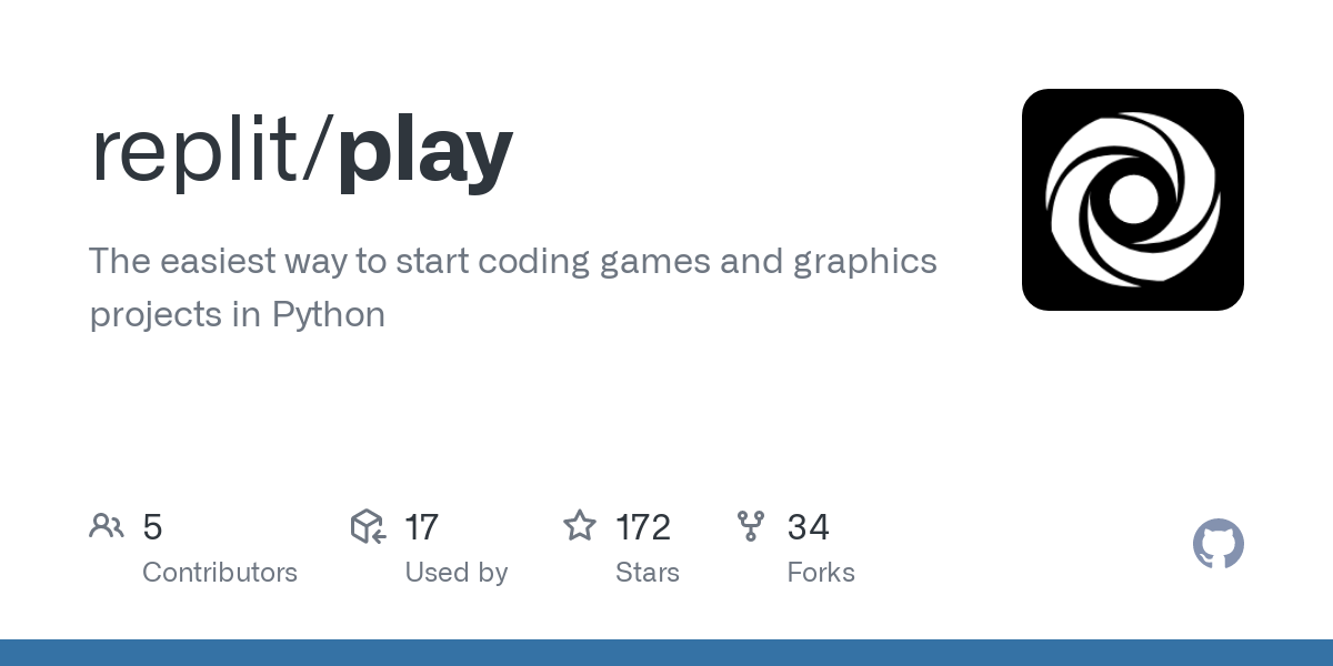 GitHub - replit/play: The easiest way to start coding games and graphics projects in Python