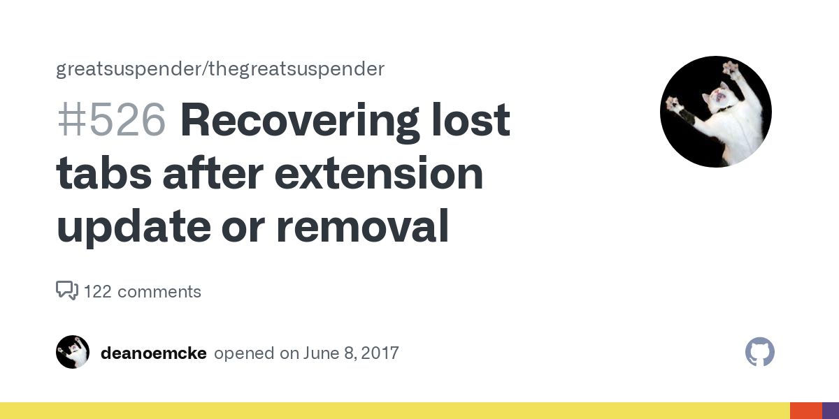 Recovering lost tabs after extension update or removal · Issue #526 · greatsuspender/thegreatsuspender