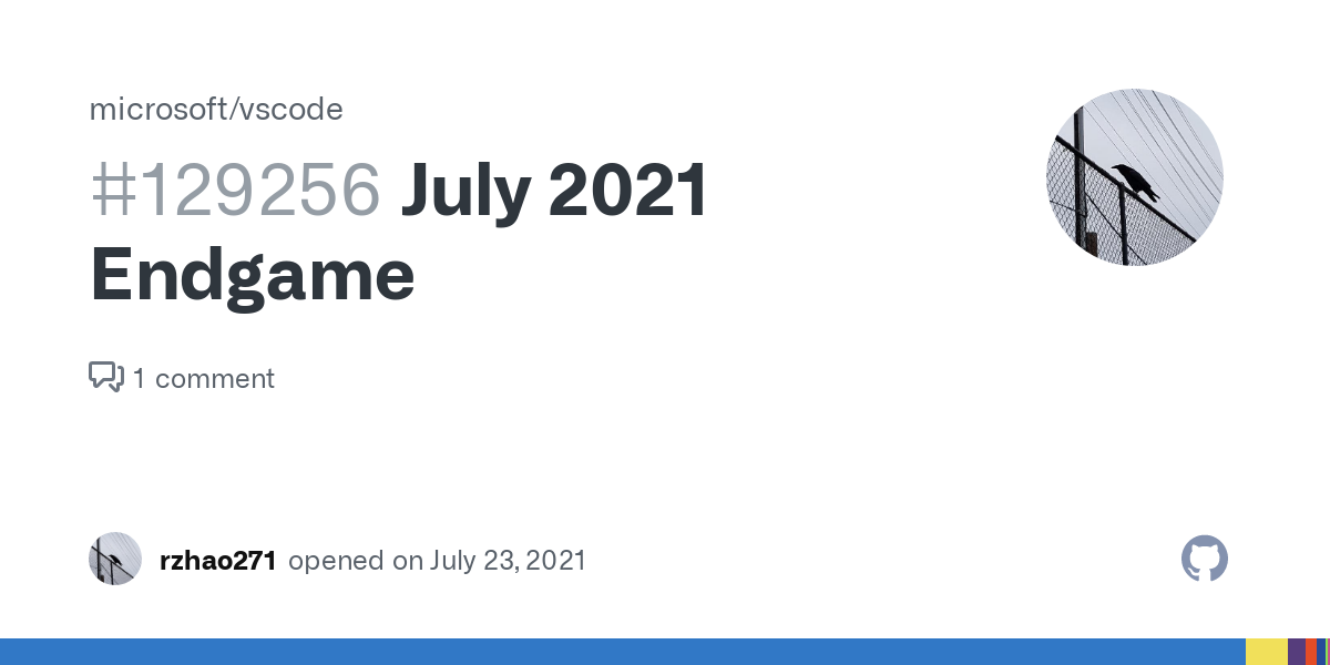 July 2021 Endgame · Issue #129256 · microsoft/vscode