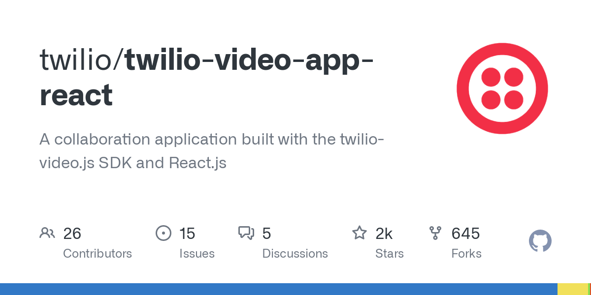 GitHub - twilio/twilio-video-app-react: A collaboration application built with the twilio-video.js SDK and React.js