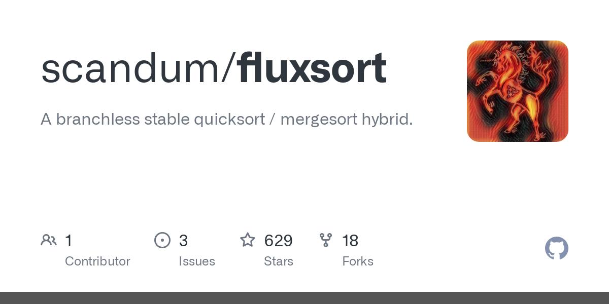 GitHub - scandum/fluxsort: A stable adaptive partitioning comparison sort.